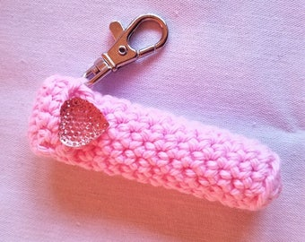 Valentine Lip Balm Holder - Pink chapstick case with Pink Heart Button - Gifts for her -Be My Valentine
