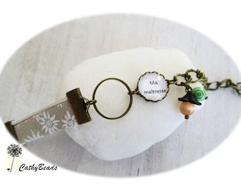 """My teacher"". Beige floral bracelet for my teacher"