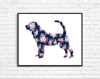 Floral Bloodhound Dog Art Print - Digital Download Print