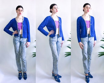 90's Marled Blue and Gray Two Button Cardigan - Pow Wow