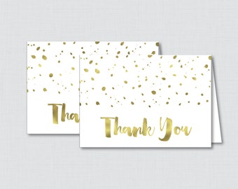 Printable White and Gold Thank You Card - Printable Instant Download - White and Gold Baby Shower Thank You Card, Faux Gold Foil - 0022-W