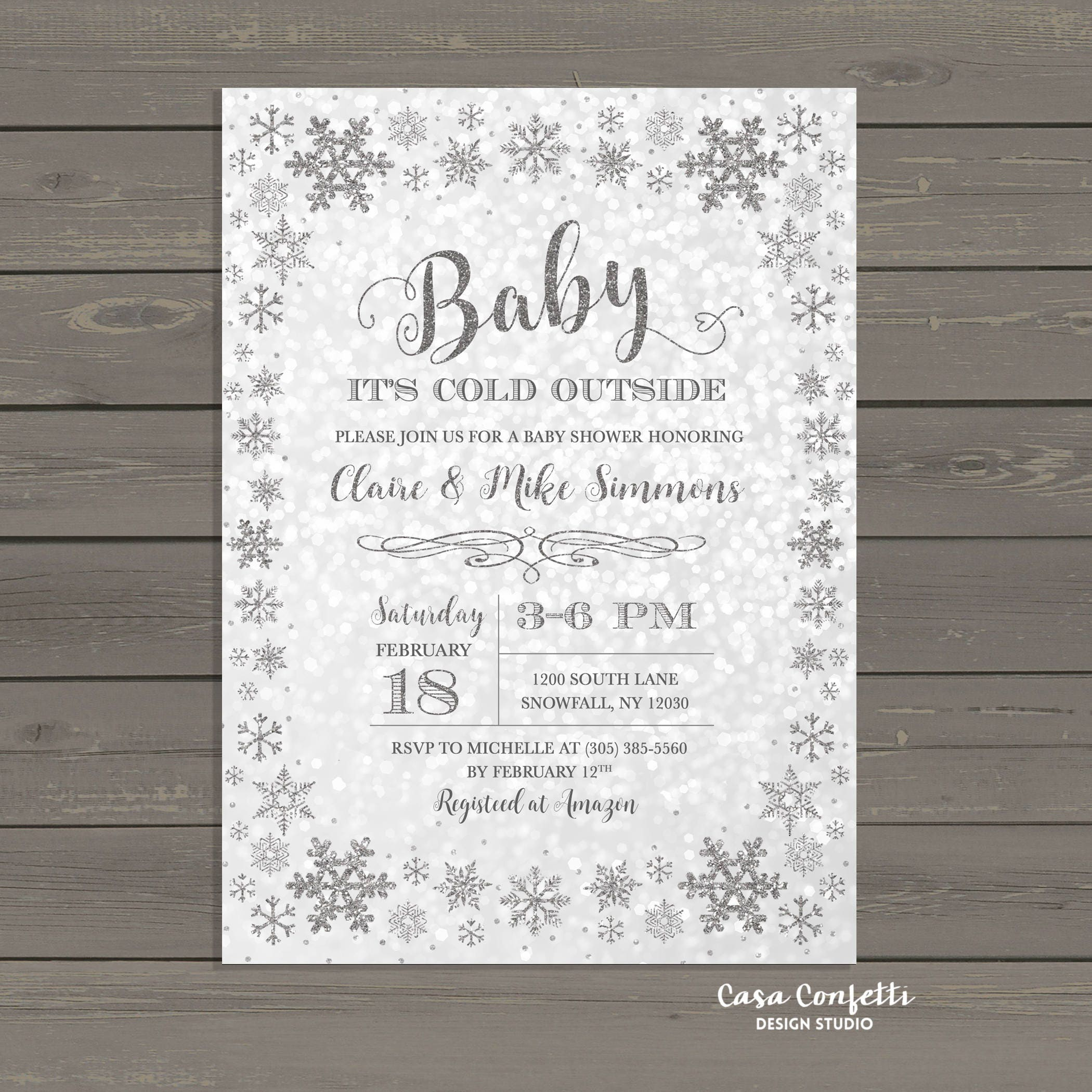 Winter Wonderland Baby Shower Invitation, Baby It\'s Cold Outside ...
