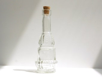 """Decorative Clear Glass Bottle with Cork """"Genie Bottle"""" (5"""" tall), Style 2 - Small bottle perfect for spices, bath salts,  vases, and more"""