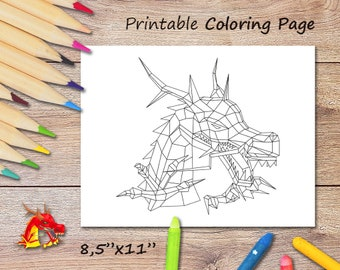 Coloring Dragon, Downloadable Dragon, Cute Dragon, Coloring Page, For Present, Low Poly Dragon, For Lovers of Coloring, Dragon Illustration