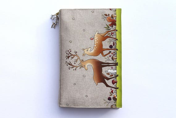 """Adjustable Pocketbook in natural linen featuring """"the enchanted forest"""""""