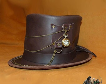 Steampunk leather top hat time traveller