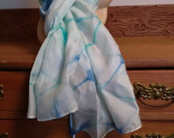 100% Habotai silk scarf hand crafted with the Shibori technique