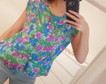 Vintage 80s Bright Floral Peplum Blouse - UK 16 - Vintage clothing - 80s blouse - Vintage blouse - Vintage 80s - Womens clothing - Ladies