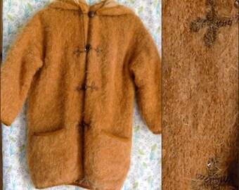 Mädchen Kinder Mohair flauschigen Fell hell Tan Ingwer französische Kinder Mantel Größe im Alter von 5 Jahren? Messungen zu sehen