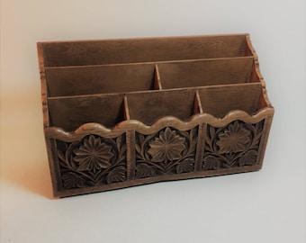 Vintage Lerner Faux Wood Desk Organizer, Mail Organizer, File