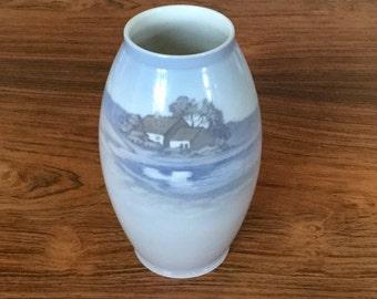 Porcelain vase by Bing & Grøndal, Copenhagen with landscape scene in pastel colours. Made in Denmark.