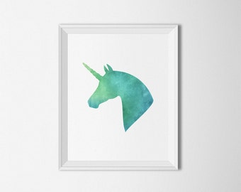 Unicorn art print, printable art, Unicorn Wall art, watercolor nursery, watercolor horse print, watercolor unicorn, watercolor wall art