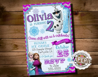 FROZEN PRINTABLE INVITATION, Custom Frozen Invitation For Girls Birthday Party, Frozen Party Decor, Winter Birthday, Pink Frosting Paperie