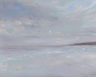 Canford Cliffs Beach ORIGINAL soft pastel drawing. Seascape Sea Winter Blue Grey Waves Clouds Beach Wall Art