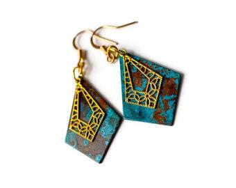 Turquoise and Gold Geometric Earrings, Gold Filigree Earrings, Blue Patina Earrings