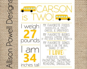 School Bus, Wheels On The Bus Birthday Poster, Any Age Birthday Poster, Personalized 11x14