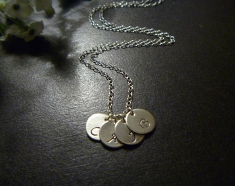 One Two Three Four Initial Necklace - Monogram - Gold or Sterling Silver - Personalized - Bridesmaid Gift - Birthday - Mommy Gift
