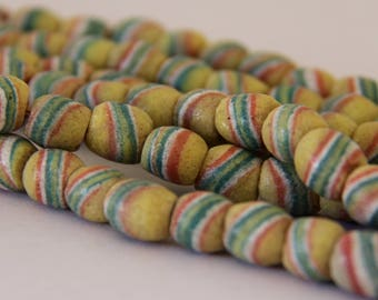 Vintage Yellow with Green and Red Swirl African Sandcast Barrel Beads - OASC 101