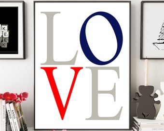Love Navy Blue Red White Gray Nursery Inspirational Nautical Typography 8x10 Wall Art Decor Print Digital Download