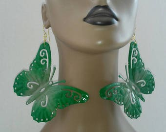 Gorgeous Multicolor Green and Olive Green Hand Painted Aluminum Butterfly Earrings, Large Earrings, Women's Earrings, Fashion Earrings