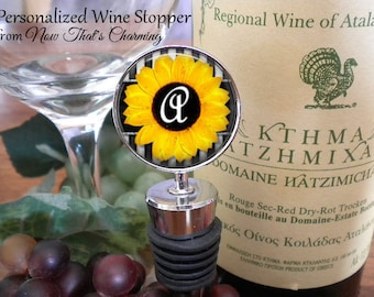 SALE! Personalized Wine Stopper - Sunflower Design with Initial - Bridal Party - Bridesmaid - Birthday Gift- Cyber Monday