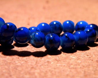 Speckled marble - 6 mm glass beads - 100 royal blue - PF69