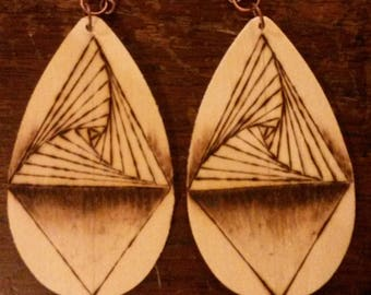 Spiraling Triangle Geometric Wood Burned Earrings
