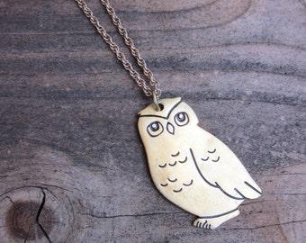 60's 70's Brass Owl Pendant Necklace Bohemian Hippie Style