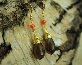 Whisky Quartz Wrapped Drop Earrings with Carnelian Beads