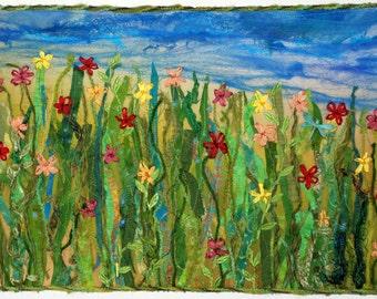 SALE-Flowers Fiber Art Quilted Wall Hanging Summer Garden Quilt
