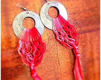 Pink/Red Dangle Macrame Earrings / Bohemian Love Earrings