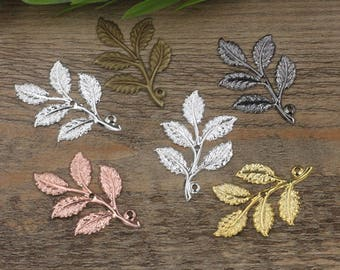 Wholesale 50 Brass Filigree Leaves Tree Branch 32x50mm Raw Brass/ Antique Bronze/ Silver/ Gold/ Rose Gold/ White Gold/ Gun-Metal Plated
