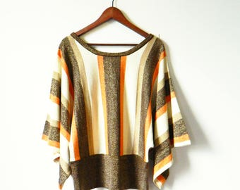 70s Vintage Sparkly Sweater / Batwing Wide Dolman Sleeve Sweater / Orange Brown and Gold Glittery Sweater / Short Sleeve Sparkly Sweater