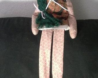 Green Yarn Hair Rag Doll - Handmade