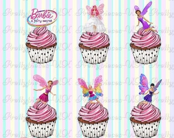 24 x Barbie Fairy Stand-Up Pre-Cut Wafer Paper Cupcake Toppers