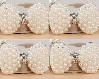 4 Flat Back Rhinestone Button Pearl Button Bow Button (30x27 mm) DT-024-02