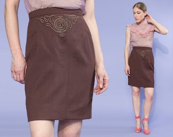 80s Leather Obsessions Inc. brown WOOL pencil skirt - ribbon appliqué detail, size small