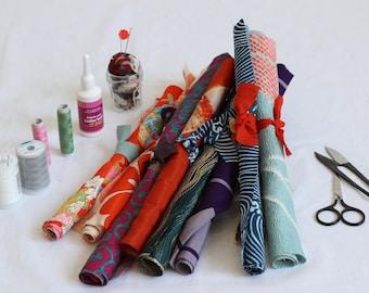 "Japanese fabric set, kimono fabric, remnant, fabric scraps, kimono textile, vintage fabric, 12 pieces【more than 15x15cm/ 6x6""】"