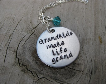 """Grandmother's Necklace- Grandmother Jewelry-  """"Grandkids make life grand"""" with a birthstone or an accent bead in your choice of colors"""