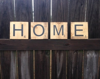 Set of Four Individual Large Scrabble Letters, Solid Wood, Rustic, Home Sign and Wall Decor - Custom Lettering of Your Choice