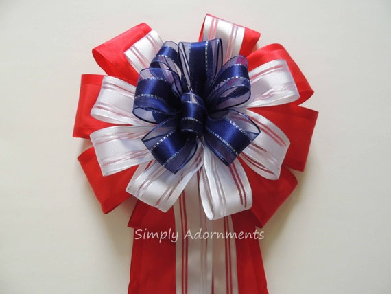 Patriotic Wreath Bow 4th of July Wreath Bow July 4th Party decor July 4th Party Red White Blue Bow Independence day Party decor Patriotic