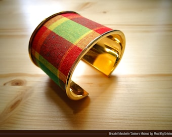 Bracelet in traditional Madras fabric of West Indies - in red, yellow and green tones