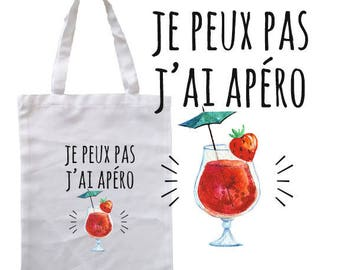 """TOTE BAG 100% cotton """"I can't I drink"""""""