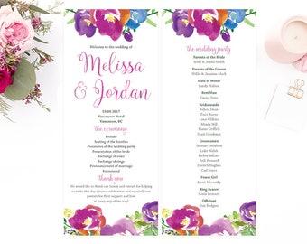Purple Wedding Program, Purple Wedding, Printable Wedding Program, Floral Wedding Program, Wedding Program Cards, Rustic Wedding Program