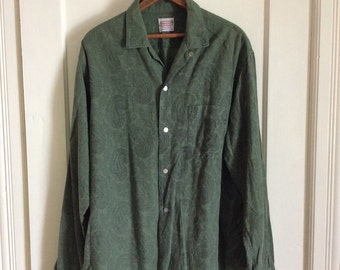 1950s soft faded paisley patterned cotton flannel loop shirt size large tall olive green black by Brent rockabilly beatnik artist