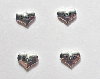 4 Dad Heart Floating Charms - Glass Locket Charms - Dad Memory Charms - #FCH005