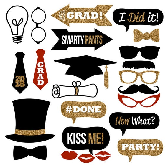 2018 Graduation Photo Booth Props Collection Printables