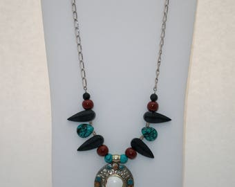 Nepalese Pendant Necklace with Turquoise Howlite and Black Magnesite