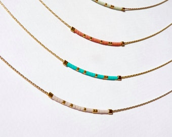Tiny Minimalist Gold Necklace, Delicate Gold Beaded Necklace, Tiny Delicate Necklace, Minimalist Necklace, Bright Colorful Necklace