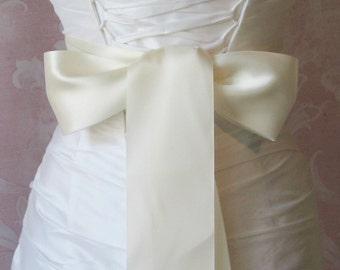 Double Face Ivory Satin Ribbon, 2.5 Inch Wide, Ribbon Sash, Bridal Sash, Wedding Belt, 4 Yards
